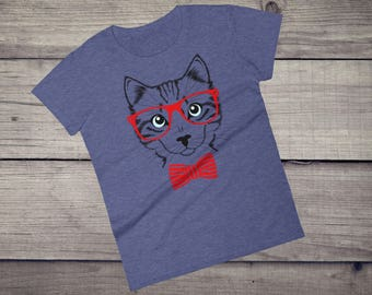 Hipster Cat with red glasses and bow tie tee Women's short sleeve t-shirt tshirt tee