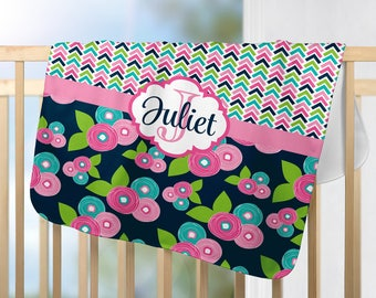 Floral Monogram Blanket, Flower Personalized Blanket, Baby Girl Name Blanket-Baby Girl Shower Gift -Swaddle Blanket Pillow Set-Baby Pillow