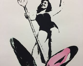 "Original Art Silkscreen Print, Vintage pinup style lady, 60's bathing suit ""Mary Serendipity"""
