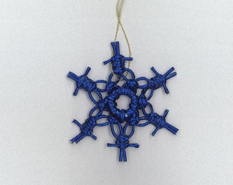Handmade blue/purple sparkly craft cord macrame snowflake by TwistedandKnottyUS