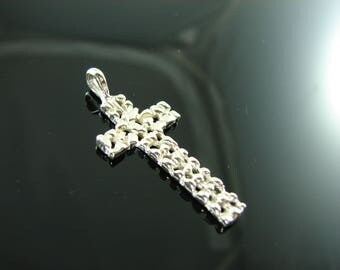 125 Sterling Silver Nugget Cross Pendant
