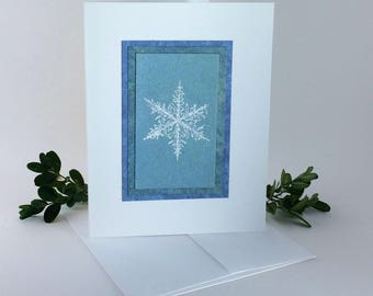 Snowflake blues embossed blank card, individually handmade on hand-painted papers: A2, winter, SKU BLA21038