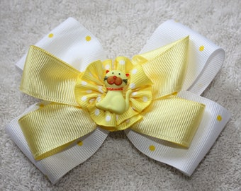 Yellow and White Hair Bow, Yellow Kitten, Girl, infant, toddler hair bow