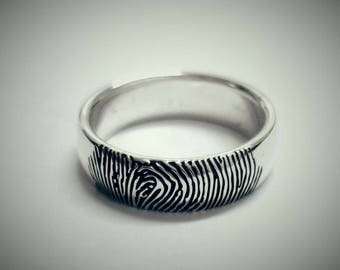 Fingerprint Ring in Sterling Silver, Personalized Fingerprint Ring, Custom Fingerprint Band, Wedding Band, His & Her Gift