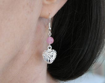 Rose Quartz and Silver Plated Puff Heart Earrings Fishhooks Valentines Gift