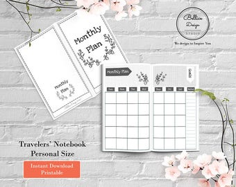 Floral Download Planner, Month on 2 Page, Personal Printable Planner Inserts, TN Personal Insert, Personal Size Inserts, Planning Printables