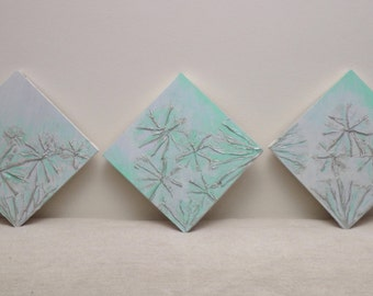 Original Art by Janet Hale, Triptych textured and contemporary abstract painting on masonite board in Turkquiose and Blue .