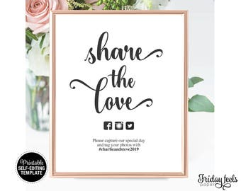 Share The Love Wedding Sign Template, Printable Sign, Self-editing Instant Download PDF, WS01