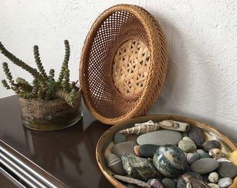 Vintage Japanese woven basket | rattan bamboo woven straw basket planter | mid century | boho bohemian | jungalow bungalow