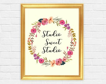 Printable art Studio Sweet Studio Lovely Watercolor Floral Art Home Studio Decor House Warming Gifts Living Room Bedroom Wall Desk Art