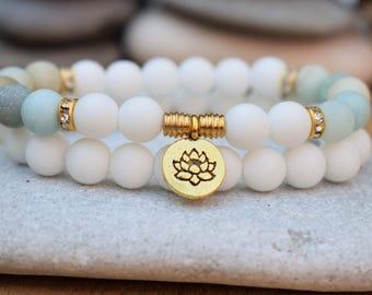 lotus bracelets for women amazonite bracelet mala bracelet stack yoga bracelets mala bead bracelets stacking bracelets set yoga lotus flower