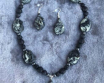 Jasper and Natural Lava Rock beaded necklace with Jasper Drop