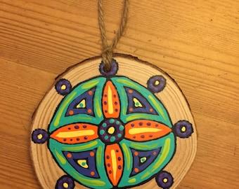 Hand Painted Wooden Mandala