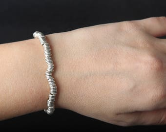 Silver coated thin bracelet