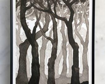 """Cypresses I - framed original ink artwork ~5""""x7"""""""