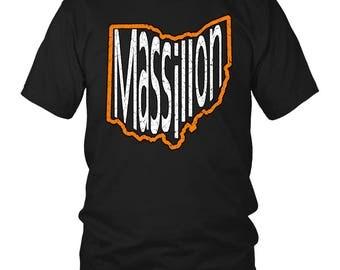Massillon Ohio T-Shirt Orange and White Print