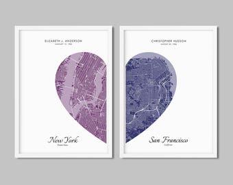 Map art 2 hearts Etsy
