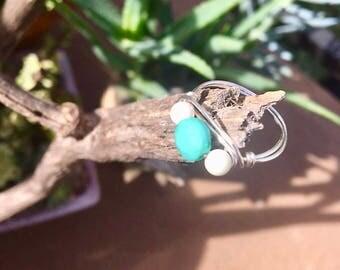 White and aqua silver ring
