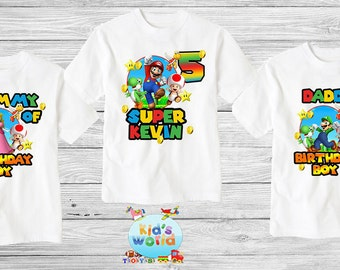Super Mario birthday shirt,Custom shirt ,personalized Super Mario Mouse Shirt, family shirt,birthday shirt,kids custom birthday shirt d17