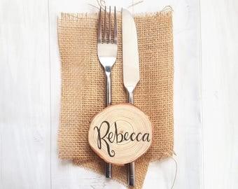 Wedding Name Place Wood Slice - Rustic Wedding Name Setting - Woodland Wedding Decor - Wedding Name Cards - Wood Wedding Favours