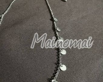 Simple stainless steel round plate necklace