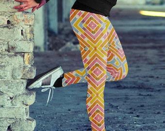 Womens Yoga Leggings, Colorful Geometry, Yoga Pants, Workout Leggings, Fitness Leggings, Printed Leggings