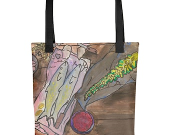 Luncheon at Vernick - Amazingly beautiful full color tote bag with black handle featuring children's donated artwork.