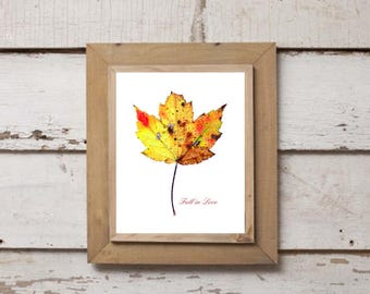 "Printable Download ""Fall in Love"" Leaf Design 3 of 3, Autumn Leaf, Fall Leaf Decor, Digital Print, Fall Home Decor, Gallery Wall, Maple Leaf"