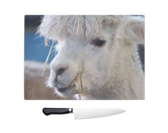 Alpaca chopping board, glass chopping board, worktop saver, alpaca lover gift, alpaca kitchen accessories, country kitchen