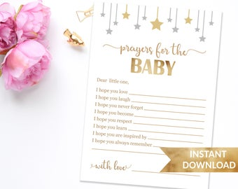 Prayers for baby card | Personalized prayers for the baby card | Twinkle twinkle little star | Printable baby shower games | Gender neutral