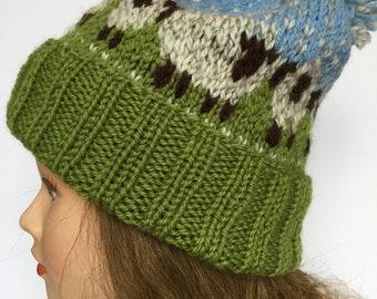 Hand Knit Sheep Hat, Baa-ble Hat, 100% Wool Hat