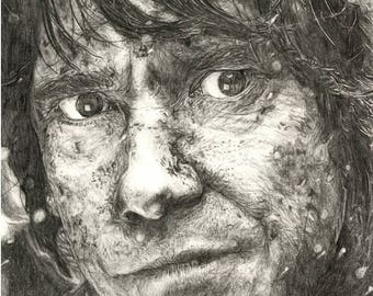 Bilbo Baggins The Hobbit Pencil Portrait A4 Print