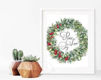 Peace Love Joy, Christmas Prints, quote prints,  Christmas Decoration, Holiday Decor, inspirational quotes, art print, floral art,