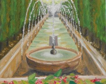 Original painting of the fountain Santa Maria Majorca - Spain - small format Original painting of the fountain Santa Maria Mallorca - Spain
