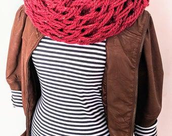 Maroon Arm Knit Scarf | Maroon Scarf | Burgundy Scarf | Burundy Infinity Scarf | Winter Scarf |