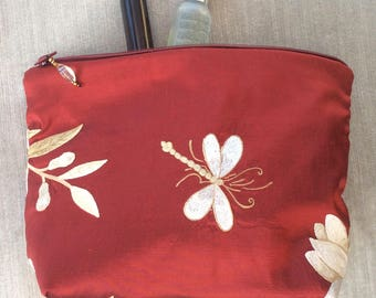 Silk embroidery cosmetic bag, jewellery bag, Friends Gift, Mother's Day Gift