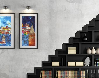 Acrylic art print, Maiden's Tower print, blue Istanbul print, colorful wall art, living room wall art, christmas gift, housewarming gift