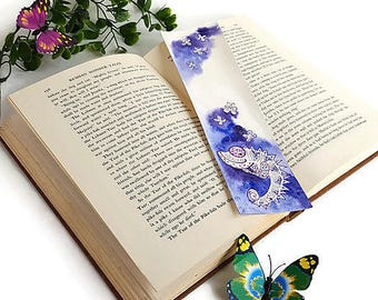 Watercolor Miniature Painting Art Book Lovers Paper Bookmark Bookish Gift for Readers Book lover gift Nerdy Chameleon Bookmark Literary gift