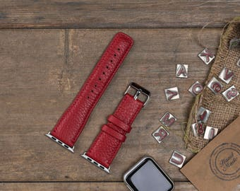 Leather Apple Watch Band, 42mm, 38mm, Red Replacement iWatch Band, Apple Watch Strap for Series 1, 2, 3, Apple Watch Customize Cuff, WR