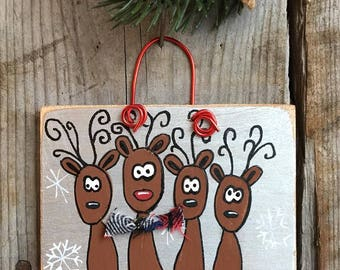 Hand painted wood Christmas ornament-reindeer