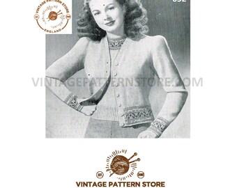 "Ladies 1940s V neck fair isle band, raglan sleeve cardigan 39"" chest - Vintage PDF Knitting Pattern 652"