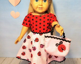 18 Inch Doll Clothes Accessories- Valentines Day Dress w/ Ladybugs