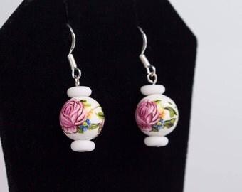 White Pink Earrings Ceramic Stone, White Pink Rose, Ceramic Bead, White Earrings, Pink Rose, Perfectly Earrings, Modern Earrings Set