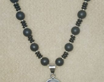 Onyx Necklace with Sterling Pendant