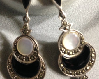 Vintage Black Onyx and Moonstone earrings