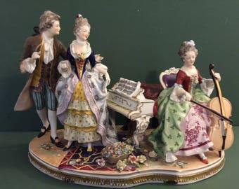 "Dresden Music Scene fine porcelain figurine 12"" H x 16"" W"
