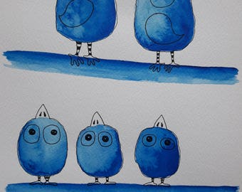 Birds Art Work, Original Art Work, Birds Art, Original Illustration, Original Watercolor Painting, Gift Idea