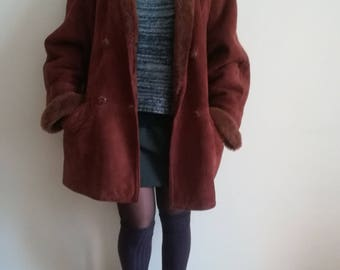 Woman SHEARLING COAT VINTAGE 80 Made in Italy Brown Shearling Coat Double Breasted sz. 48