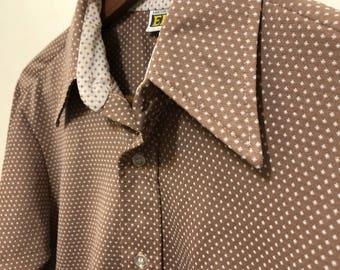 Retro Pattern Button Down / Vintage Mustard-Brown Long Sleeve
