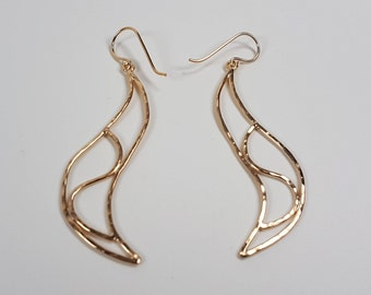 New Collection Gold-fill handemade Wave Earrings. 15% Off. Free shipping